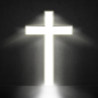 bright cross against dark background